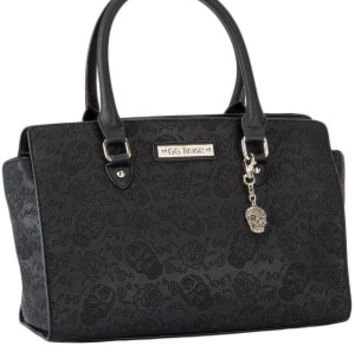 GG Rose Sugar Skull Handbag Black