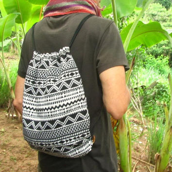 Men's Tribal Drawstring Backpack Rucksack Bag / Ethnic Aztec Hippy Surfer Daypack Man Bag / Men's Handwoven Beach Bag / Unisex Hippie Bag
