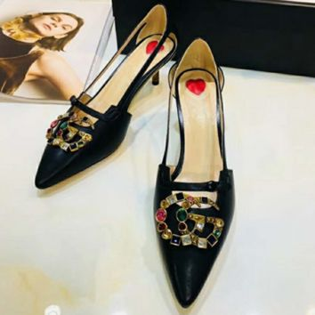 GUCCI Summer fashion new colorful diamond sandals pointed stiletto shoes high heels women Black
