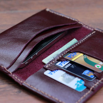 Purple Leather iPhone Wallet Case - Soft, Durable Design - Fits iPhone 5 or 4