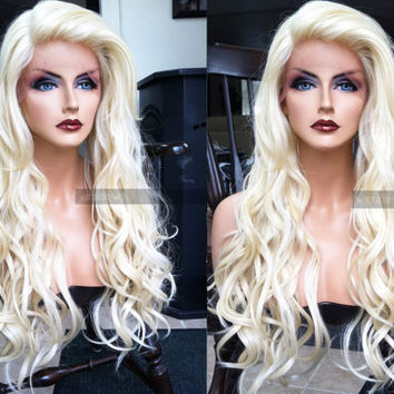 "USA // 25"" Human Hair BLEND Platinum Blonde Wavy Swiss Lace Front & Heat OK Curly Long Wig w/ Baby Hairs"