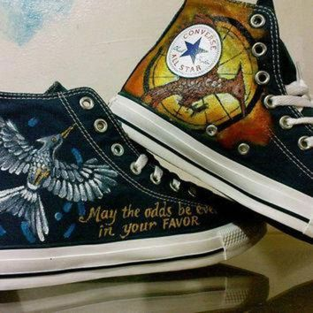 CREYUG7 Mockingjay Hunger Game Inspired Hand Painted Converse Shoes High Top