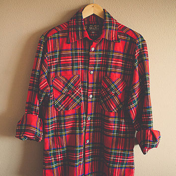 Vintage 70's 80's Wool Plaid Red Blue Green MOAC brand Men's 16 1/2 Size Medium Large Logger Hipster Country Cowboy Hunter Shirt Long Sleeve