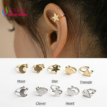 new hot fashion sweet Korea gold silver copper moon clover star heart triangle no pierced clip earrings ear cuffs for women