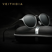 VEITHDIA Fashion Unisex Sun Glasses Polarized Coating Mirror Driving Sunglasses Round