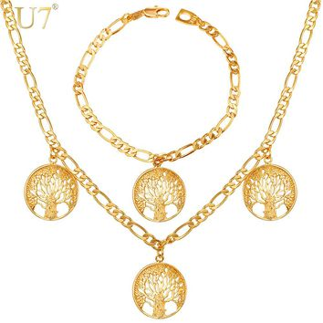 U7 Lucky Bracelet Necklace Set Trendy Gift Gold Color Charms Tree Of Life Russian Jewelry Set For Women S862