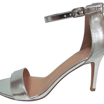 Cambridge Select Womens Open Toe Single Band Buckled Ankle Strap Stiletto Mid Heel Sandal