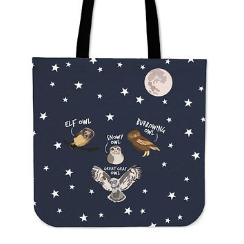Owl Diagram Linen Tote Bag