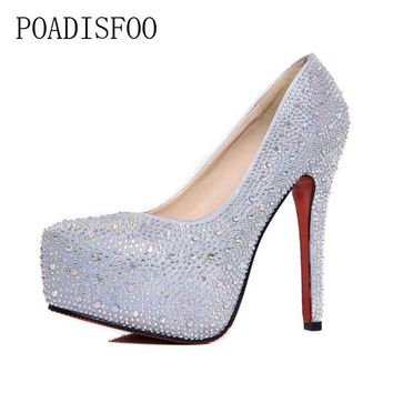 POADISFOO Spring autumn women s high heels Rhinestone waterproof 710e8f516a