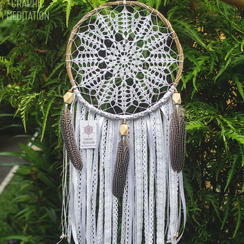"Large dream catcher wall hanging 11"", Doily dreamcatcher, Big white dream catcher, Feather boho dreamcatcher, Bohemian crochet wedding decor"
