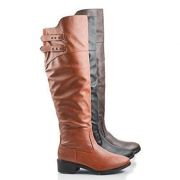 West Pu By Dollhouse, Almond Toe Knee High Buckle Zip Up Low Heel Riding Boots