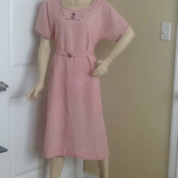 1940s Vintage Home Sewn Linen Blend Pink Dress with Hand Embroidery Detail, Size Medium-Large, Rustic Linen, Vintage Clothing, Vintage Dress
