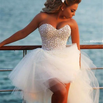 2016 New Style Sweetheart Bling White High Low Puffy Prom Dresses Short Front Long Back Party Gown Pearls