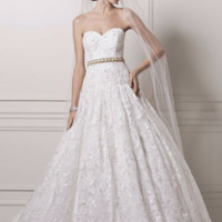 Strapless Ball Gown with All Over Lace Appliques - Davids Bridal