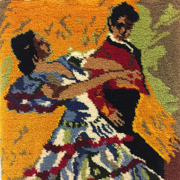 Large Hooked Rug Wall Hanging Spanish Flamenco Dancers Couple Vintage Shillcraft Handmade Retro Wall Decor Textile Gothic