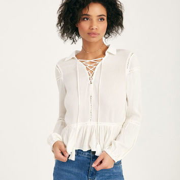Lace-Up Long Sleeve Ruffle Blouse | Wet Seal