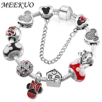 Handmade Cute Children Mickey Charms Fit Europe and United States Gift for Women Kids Girl DIY Murano Beads pandora Bracelet