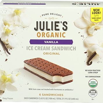 Julie's Organic, Vanilla Ice Cream Sandwich, 6 sandwiches, 21.90 oz (Frozen)