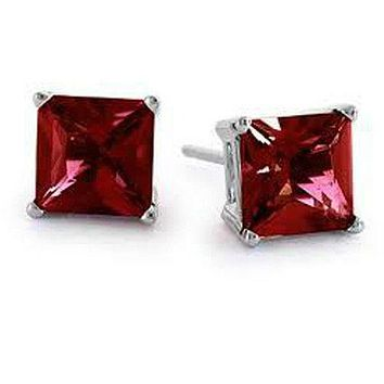 1CT Princess Cut Red Ruby Stud CZ Earrings