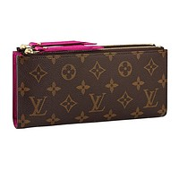 Louis vuitton fashionable hot - selling printed double zipper ladies purse clutch Rose Red #9
