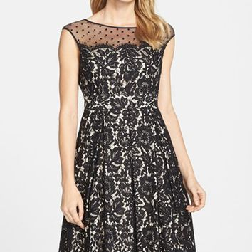 Women's Eliza J Illusion Yoke Lace Fit & Flare Dress,