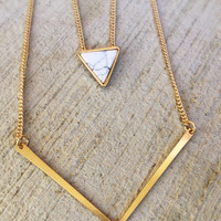 Multilayer Triangle necklace,statement necklace,geometrical,gemstone jewelry,double strand,turqouise jewelry,anniversary gift,boho necklace,