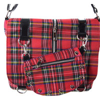 Punk Rock Studded Red Tartan Plaid Crossbody Purse with Zippers with Skull