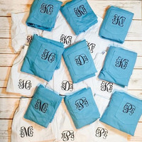 Set of 9 Bridesmaid Sorority Sister Cheer Squad Seersucker Boxer Sleep Shorts PJ and Pink or Blue with Comfort Colors T-shirt Monogrammed