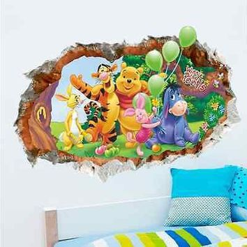 Cartoon Winnie Pooh Ruin Wall Sticker Kid Baby Bedroom Room Vinyl Removable House Decoration Tigger & Pooh Wall Decal