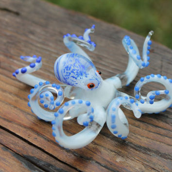 Blown Glass Octopus, Glass Green Octopus, Glass, Octopus, Ocean, Octopus Sculpture, Squid, Kraken, Cephalopod, Blown Glass, Octopus Figurine