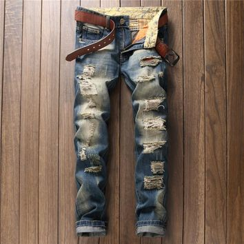 European and American style fashion hole patches jeans men's trousers