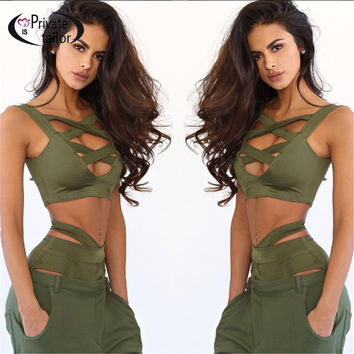 2016 New Arrival Sexy Women tank tops Set Bandage Push-Up Beachwear Hallow out women suit Army Green clolor