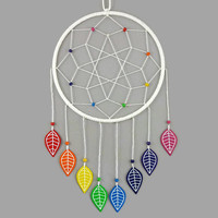 White dreamcatcher with rainbow leaves, modern and colorful dreamcatcher, multicolored dreamcatcher, wall decor for child's room, home decor