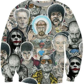 ONETOW Women Men Breaking Bad Inked Ikon Collage Tattoo Outerwear Harajuku 3d print Clothes Sport Sweatshirts