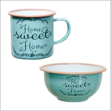 Home Sweet Home Vintage Enamelware Mug and Bowl.  3 Sizes.  Light Blue with Pink Trim.