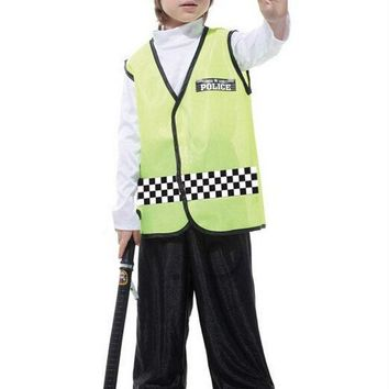 Free shipping!!Fluorescent yellow handsome traffic police clothing, costume party game show, Halloween party dress