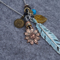 Feather and Flower Long Necklace