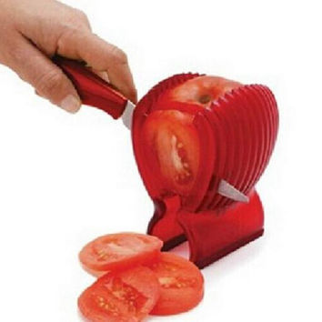 Potato Onion Cutter Fruit slicer Tomatoes Clip Fruit Vegetable Holder for lemon Red Color Food Clip Cooking Tools