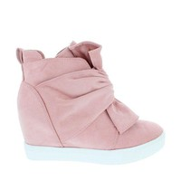 DCK7YE Knotted Suede Sneaker Wedge