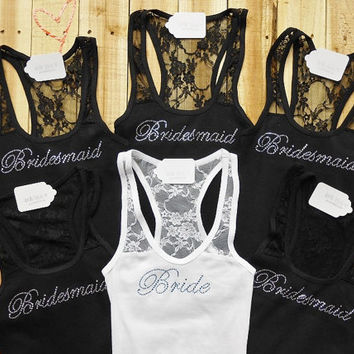 6 Bridesmaid Tank Top. Maid of Honor, Bridal Entourage, Brides Crew, Mother of the Groom. Bachelorette Party Lace Shirts.