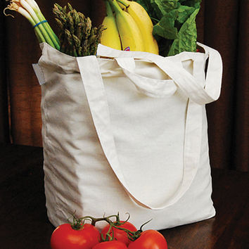 "Reusable Canvas Grocery Bag 14.5""""X11.5""""X6.5""""-Natural"