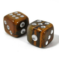 Tiger's eye set of two dices