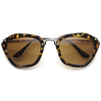 Fashion Hexagon Frame With Metal Accents Women's Sunglasses 9144