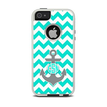 The Teal Green and Gray Monogram Anchor on Teal Chevron Apple iPhone 5-5s Otterbox Commuter Case Skin Set
