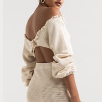 AKIRA Off Shoulder Plunging Rolled Sleeve Elasticated Cuff Crochet Knit Crop Top in Black, Ivory
