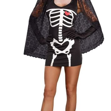 Ladies Scary Skeleton Fancy Dress Day Of The Dead Costume Halloween Black Ghost Bride Outfit