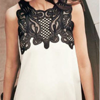 Lace Embroidery Patchwork Sleeveless Chiffon Shirt