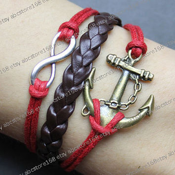 Karmba Bracelet-infinity bracelet-anchor bracelet-red rope,brown braided bracelet