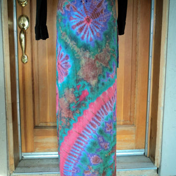 Vintage Wrap Skirt Tie Dye Rayon Maxi Summer Tye Dyed Hippie Skirt  Medium 34 Waist