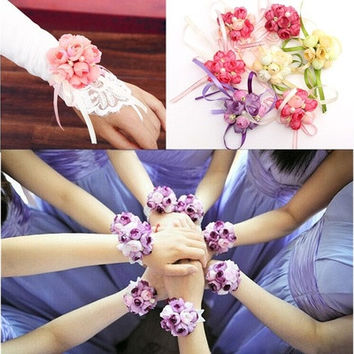 Wrist Corsage Bracelet Bridesmaid Sisters Hand Flowers Wedding Party Bridal Prom [7983224775]
